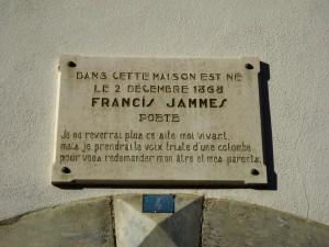Plaque sur la maison natale de Francis Jammes à Tournay