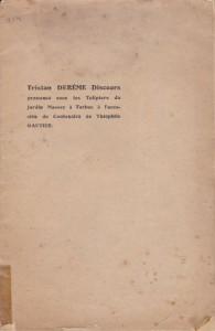 1911- Discours prononcé sous les tulipiers du jardin Massey à Tarbes à l'occasion du Centenaire de Théophile Gautier