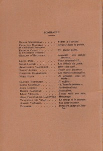 Sommaire du Souvenir de Tristan Derème