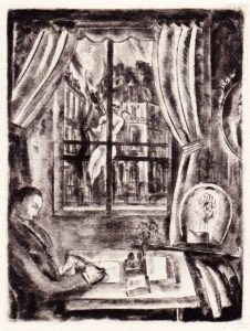 1928-  Tristan Derème à son bureau, dessin d'Hermine David