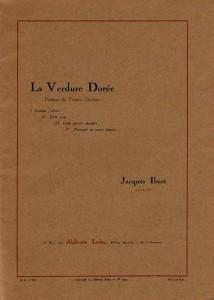 1923 - Quatre poèmes de la Verdure dorée mis en musique par Jacques Ibert