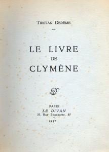 Le livre de Clymène