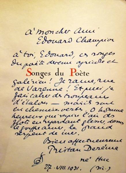 Songes du poète avec envoi à Édouard Champion
