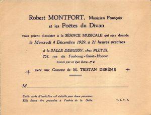 Invitation à la séance musicale de Robert Montfort du 4 décembre 1929 - recto