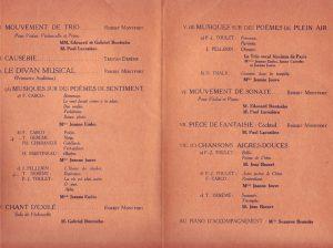 Programme de à la séance musicale de Robert Montfort du 4 décembre 1929
