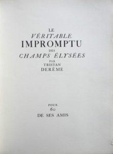 Le véritable Impromptu des Champs Élysées